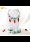 Türkiz, piros, egyedi, kézműves, designee nyaklánc, karkötő, fülbevaló, ékszerszett - Liv Ékszerek, ékszer