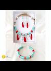 Türkiz, piros, egyedi, kézműves, design nyaklánc, karkötő, fülbevaló, ékszerszett - Liv Ékszerek, ékszer