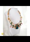 Türkiz zöld, pezsgőszín, dióbarna, egyedi, kézműves, selyem, design nyaklánc - Liv Ékszerek, ékszer