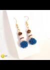 """Kék, fehér, barna, egyedi, kézműves, design """" bogyó fülbevaló  - Liv Ékszerek, ékszer"""