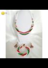 Magyar trikolor, piros, fehér, zöld, egyedi, kézműves csavart nyaklánc, karkötő, fülbevaló ékszer szett - Liv Ékszerek .