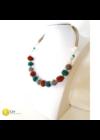 Türkizzöld, barna, ezüst színű, egyedi, kézműves, designer, bogyó nyaklánc - Liv Ékszerek, ékszer