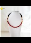 Fekete, piros, arany, egyedi, kézműves, csavart fém nyaklánc  - Liv Ékszerek, ékszer