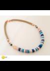 Rose gold, kék, türkiz, egyedi, kézműves selyem nyaklánc - Liv Ékszerek, ékszer