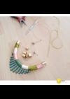 Zöld, lazac, rozé színű, egyedi,kézműves, design nyaklánc, nyakék - Liv Ékszerek, ékszer, work photo,