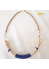 Bronz, indigókék csíkos, egyedi kézműves,  pamut design nyaklánc