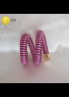 Neon rózsaszín, fekete, szürke, egyedi kézműves karkötő