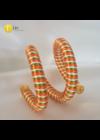 Narancssárga, fehér, zöld , egyedi, kézműves, dupla, csavart karkötő