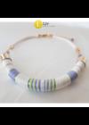 Fehér, kiwizöld, lila, egyedi, kézműves, design, pamut nyaklánc