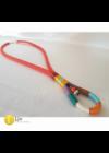 Afrikai stílusú, egyedi, kézműves hosszú nyaklánc