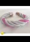 Ezüst, rózsaszín, egyedi, kézműves, fém, csavart, nyaklánc, karkötő, fülbevaló ékszer szett