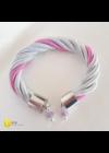 Ezüst, rózsaszín, egyedi, kézműves, fém, csavart karkötő , nyaklánc ékszerszett - Liv Ékszerek