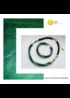 Smaragdzöld, türkiz, arany, fekete színű, egyedi, kézműves csavart nyaklánc, karkötő ékszerszett - Liv Ékszerek, ékszer