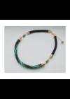 Smaragdzöld, türkiz, arany, fekete színű, egyedi, kézműves csavart nyaklánc - Liv Ékszerek, ékszer