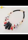 Fekete, fehér, piros, szürke, egyedi, kézműves, designer nyaklánc,  nyakék  - Liv Ékszerek,  ékszer