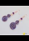 Kék, lila, és barackvirág színű, egyedi, kézműves, designer, csiga fülbevaló- Liv Ékszerek,  ékszer