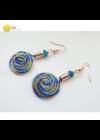 Kék, zöld, barack színű, egyedi, kézműves, designer csiga fülbevaló (3D) - Liv Ékszerek, ékszer