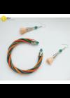 Türkiz, narancssárga, ezüst színű, egyedi, kézműves, designer csavart karkötő- Liv Ékszerek, ékszer