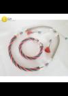 Rózsaszín, türkiz, ezüst színű, egyedi, kézműves, design nyaklánc, karkötő, fülbevaló ékszerszettet - Liv Ékszerek, ékszer