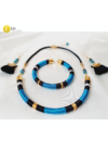 Kék, fekete, arany színű, egyedi, kézműves, design nyaklánc, karkötő, fülbevaló ékszerszettet - Liv Ékszerek , ékszer