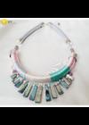 Rózsaszín, türkiz, ezüst színű,  egyedi, kézműves nyaklánc, fülbevaló ékszerszett - Liv Ékszerek,  ékszer