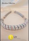 Türkiz, ezüst, rózsaszín csíkos, egyedi kézműves pamut nyaklánc