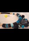 Fekete, türkiz, egyedi, kézműves nyaklánc, nyakék