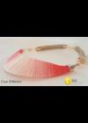 Korall színű, egyedi, kézműves pamut nyaklánc, színes nyaklánc, nyakék