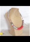 Ezüst,  korall csíkos, egyedi kézműves pamut nyaklánc