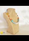 Narancssárga,  türkiz, színes,  kézműves pamut nyaklánc