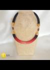 Piros, fekete, egyedi, kézműves pamut nyaklánc