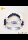 Kék,  fehér, pamut - ásvány, kézműves, páros karkötő