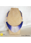 Indigókék, púderrózsaszín, egyedi, kézműves designer, pamut nyaklánc