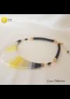 Sárga, szürke, fekete egyedi kézműves, dizájner pamut nyaklánc.