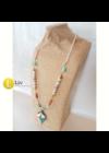 Türkiz,  fehér,  korall színű, egyedi, kézműves,  hosszú nyaklánc