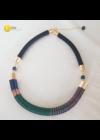 Sötétkék, sötétzöld, réz, egyedi, kézműves  design nyaklánc