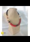 Piros, fekete, réz, egyedi, kézműves, design nyaklánc