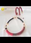 Piros, fekete, réz, egyedi, kézműves, design, csavart, dupla karkötő
