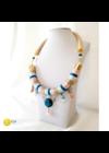 Púderszínű, bézs, türkiz, egyedi, kézműves, designer nyaklánc, nyakék - Liv Ékszerek, ékszer