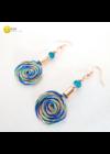 Kék, zöld , türkiz, és barack színű, egyedi, kézműves, designer, szivárványos csiga fülbevaló - Liv Ékszerek, ékszer