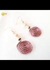 Rózsaszín, világosbarna, aramy színű, egyedi, kézműves, designer, fém, csiga fülbevaló - Liv Ékszerek, ékszer