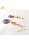 Lila, zöld, rózsaszín, türkiz, szivárványos, egyedi, kézműves, designer, csiga fülbevaló - Liv Ékszerek, ékszer