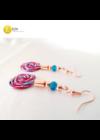 Piros, türkiz, rózsaszín, lila, szivárványos, egyedi, kézműves, designer, csiga fülbevaló - Liv Ékszerek, ékszer