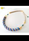 """Kék, lila, bézs, sárga, piros, színes, egyedi, kézműves, designer """"Rainbow """"nyaklánc- Liv Ékszerek, ékszer"""