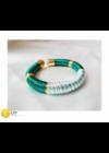 Smaragdzöld, szivárvány mintás, egyedi, kézműves,  designer, selyem karkötő - Liv Ékszerek,  ékszer