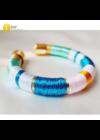 Kék, rózsaszín, narancssárga, türkiz, egyedi, kézműves, designer karkötő - Liv Ékszerek, ékszer