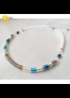 Kék, fehér, bronz színű, egyedi, kézműves, designer selyem nyaklánc, fülbevalóékszerszett - Liv Ékszerek, ékszer