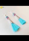 Kék,  rózsaszín,  ezüst színű,  egyedi, kézműves bojt fülbevaló  - Liv Ékszerek, ékszer