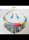 Színes, egyedi, kézműves,  designer nyaklánc, fülbevaló ékszerszett  - Liv Ékszerek, ékszer