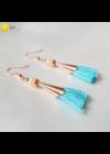 Türkiz, sárga, rosegold színű, egyedi, bojt fülbevaló - Liv Ékszerek, ékszer